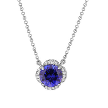 Blue Sapphire & White Diamonds Solitaire Clover Flower Pendant Necklace 2.72 Carat 14k White Gold Certified handmade