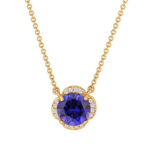 Blue Sapphire & White Diamonds Solitaire Clover Flower Pendant Necklace 2.72 Carat 14k Yellow Gold Certified handmade