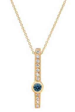 Blue & White Diamond Pendant Necklace 14k Yellow Gold 0.43 Carat Heart Love Designs handmade