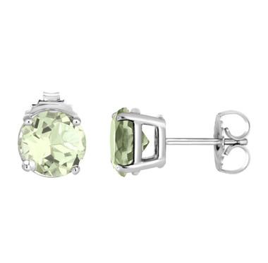 Green Amethyst Stud Earrings 14K White Gold 2.00 Carat HandMade Birthstone