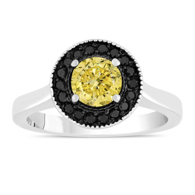 Fancy Yellow Diamond Engagement Ring 14K White Gold 1.00 Carat Certified Pave Set Halo Handmade Unique