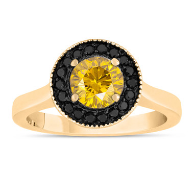 Fancy Yellow Diamond Engagement Ring 14K Yellow Gold 1.00 Carat Certified Pave Set Halo Handmade Unique