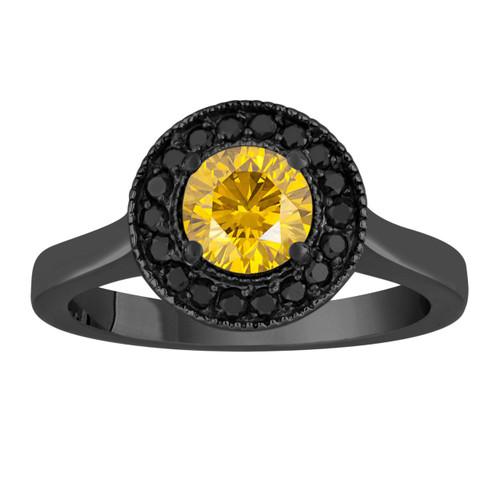Fancy Yellow Diamond Engagement Ring 14K Black Gold Vintage Style 1.00 Carat Certified Pave Set Halo Handmade Unique