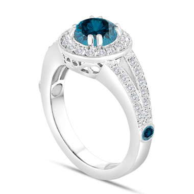 Blue Diamond Engagement Ring 14k White Gold 1.76 Carat Handmade Unique Halo Pave Certified