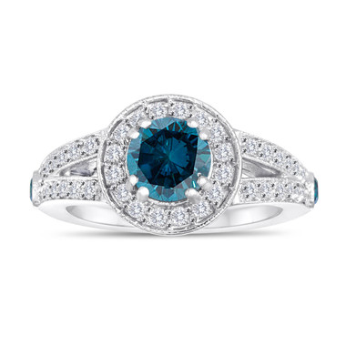 Blue Diamond Engagement Ring 1.56 Carat 14K White Gold Handmade Unique Halo Pave Certified