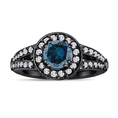 Blue Diamond Engagement Ring 1.56 Carat 14K Black Gold Vintage Syle Handmade Unique Halo Pave Certified
