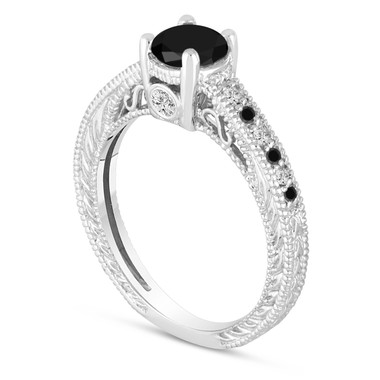 Natural Black Diamond Engagement Ring 14K White Gold Vintage Antique Style Engraved 0.70 Carat Certified Handmade