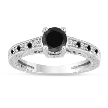 Platinum Black And White Diamonds Engagement Ring Vintage Antique Style Engraved 1.24 Carat Certified Handmade