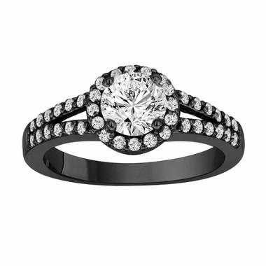 14k Black Gold Diamond Engagement Ring 1.34 Carat Vintage Style Pave Halo Certified handmade