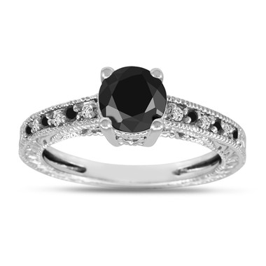 Platinum Black & White Diamonds Engagement Ring 1.17 Carat Vintage Antique Style Pave Handmade Unique