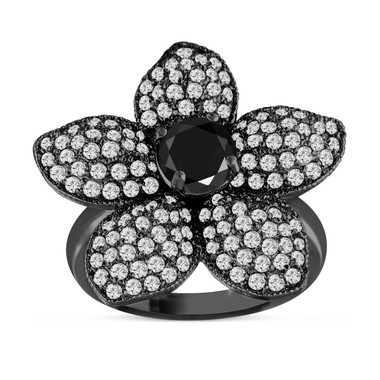 Black Diamond Flower Cocktail Ring 2.65 Carat 14K Black Gold Vintage Style Handmade Unique Pave