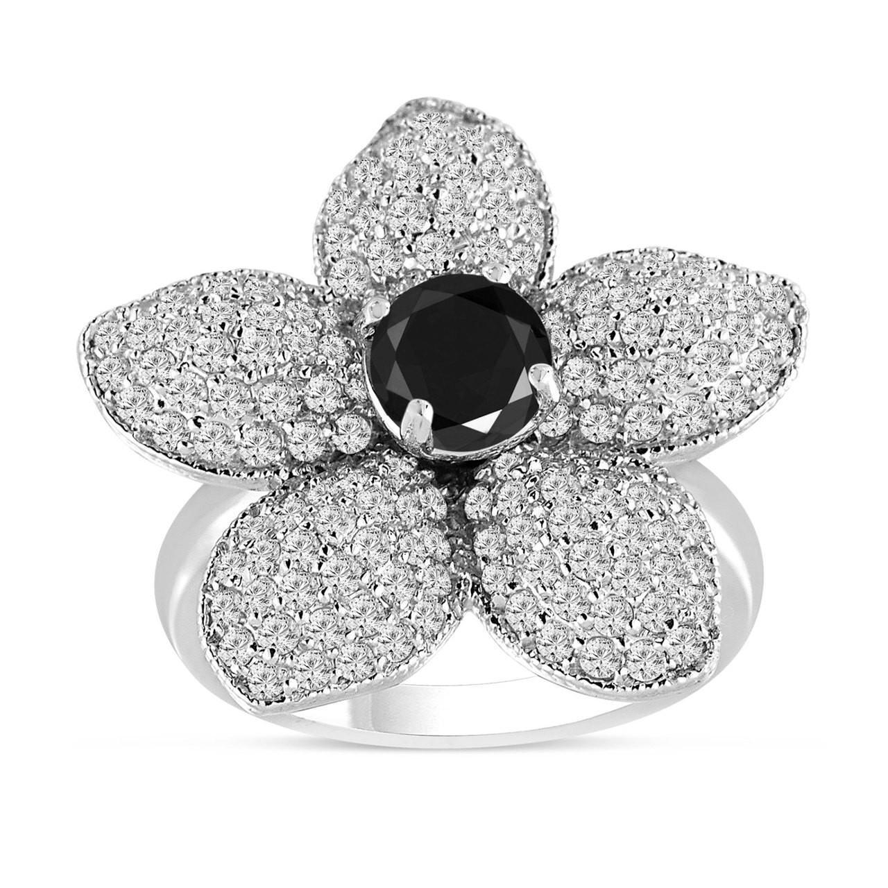 Fancy Black Diamond Flower Engagement Ring 265 Carat 14k White