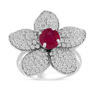 Ruby and Diamond Flower Engagement Ring 2.65 Carat 14K White Gold Handmade Unique Pave