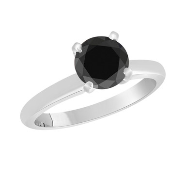 2.00 Carat Black Diamond Solitaire Engagement Ring 14k White Gold Certified handmade