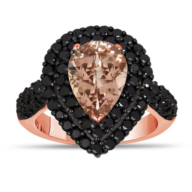 Pear Pink Peach Morganite & Black Diamond Engagement Ring 3.13 Carat 14k Rose Gold Unique Handmade Halo Pave