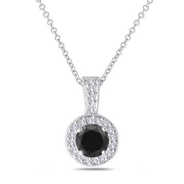 Black & White Diamond Pendant Necklace 14K White Gold 1.23 Carat Handmade