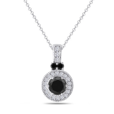 Black & White Diamond Pendant Necklace 14K White Gold 1.38 Carat Handmade