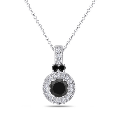 Platinum Black Diamond Pendant, Black Diamond Necklace, Halo Pave Unique 1.38 Carat Handmade