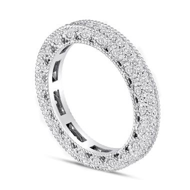 Diamond Eternity Wedding Band 14K White Gold 0.73 Carat Vintage Style Unique