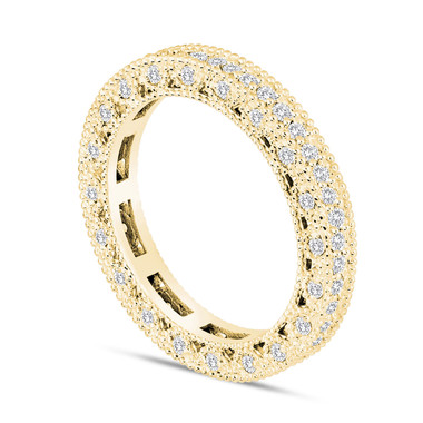 Eternity Diamond Wedding Band 14K Yellow Gold 0.73 Carat Vintage Style Unique
