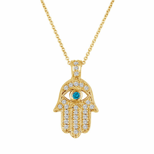 18K Yellow Gold Hamsa Diamond Pendant Necklace 0.37 Carat Handmade Pave Set