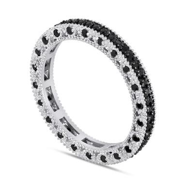 Eternity Fancy Black Diamonds Wedding Band 14K White Gold 0.75 Carat Vintage Style Unique
