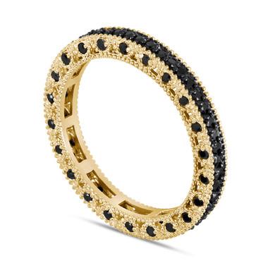 Black Diamonds Eternity Wedding Band, Wedding Ring, 14K Yellow Gold 0.75 Carat Vintage Style Unique