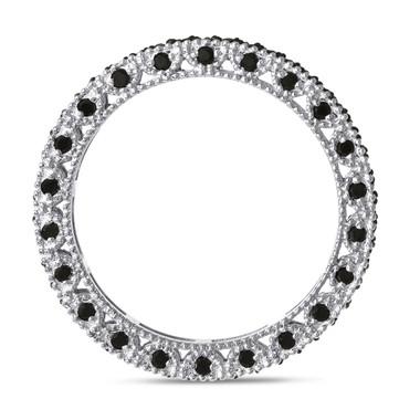 Platinum Black Diamonds Wedding Band, Diamond Eternity Ring, 0.75 Carat Vintage Style Unique Certified