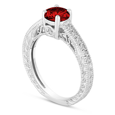 Fancy Red Diamond Engagement Ring 14K White Gold Vintage Antique Style Engraved 0.86 Carat Certified HandMade