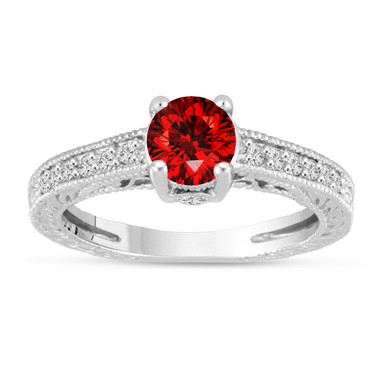 Fancy Red Diamond Engagement Ring 14K White Gold Vintage Antique Style Engraved 0.67 Carat Certified HandMade