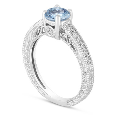 Aquamarine Engagement Ring 14K White Gold Vintage Antique Style Engraved 0.67 Carat Certified HandMade