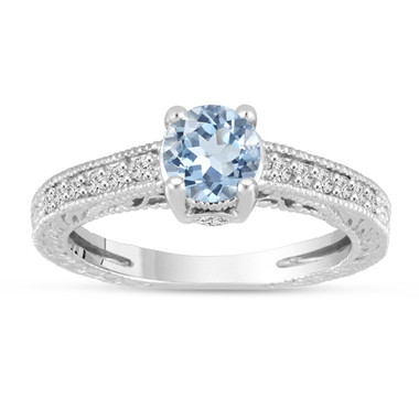 Aquamarine Engagement Ring 14K White Gold Vintage Antique Style Engraved 1.06 Carat Certified HandMade