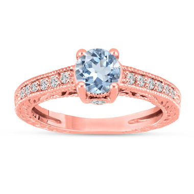 Aquamarine and Diamonds Engagement Ring 14K Rose Gold Vintage Antique Style Engraved 1.06 Carat Certified HandMade