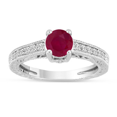 Ruby Engagement Ring 14K White Gold Vintage Antique Style Engraved 1.20 Carat Certified HandMade