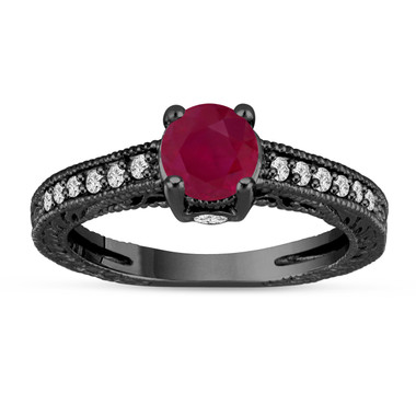 Ruby and Diamonds Engagement Ring 14K Black Gold Vintage Antique Style Engraved 1.20 Carat Certified HandMade