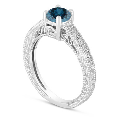 Fancy Blue Diamond Engagement Ring 14K White Gold Vintage Antique Style Engraved Unique 0.70 Carat Certified Handmade