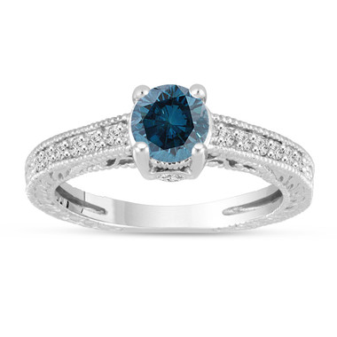Blue Diamond Engagement Ring 14K White Gold Vintage Unique Antique Style Engraved 1.20 Carat Certified HandMade
