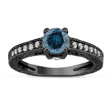 1.00 Carat Blue Diamond Engagement Ring 14K Black Gold Vintage Unique Antique Style Engraved Certified HandMade