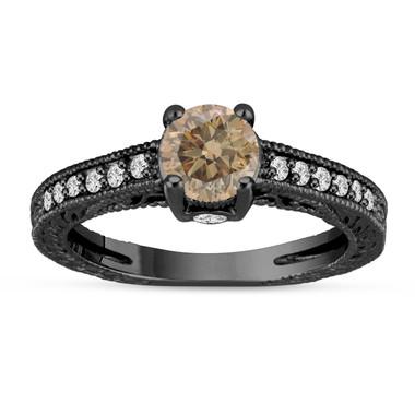 Fancy Champagne Brown Diamond Engagement Ring 14K Black Gold Vintage Unique Antique Style Engraved 1.20 Carat Certified HandMade