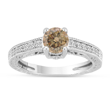 Fancy Champagne Brown Diamond Engagement Ring 14K White Gold Vintage Unique Antique Style Engraved 1.20 Carat Certified HandMade