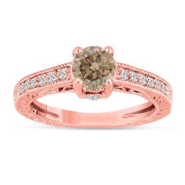 Fancy Champagne Brown Diamond Engagement Ring 14K Rose Gold Vintage Unique Antique Style Engraved 1.20 Carat Certified HandMade
