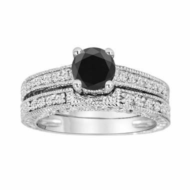 Natural Black Diamond Engagement Ring Wedding Band Sets 14K White Gold 0.80 Carat Vintage Antique Style Engraved