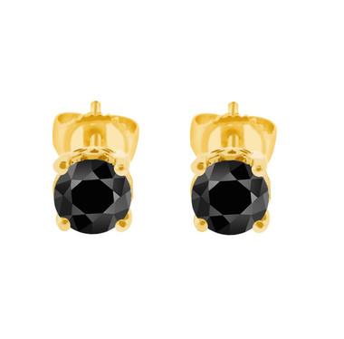 1.00 Carat 14K Yellow Gold Fancy Black Diamond Stud Earrings HandMade