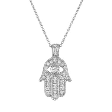 Diamond Hamsa Pendant Necklace 0.35 Carat 14K White Gold Handmade Pave Set