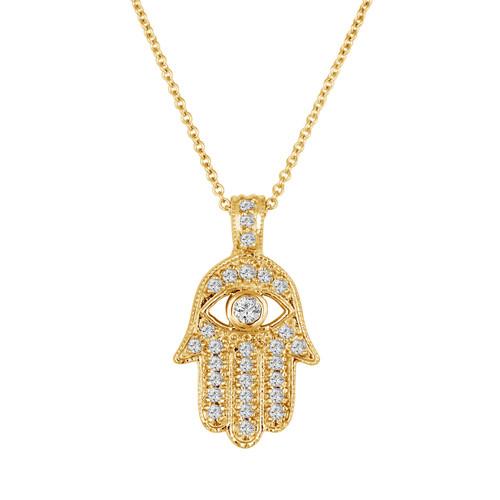 18k Yellow Gold Diamond Hamsa Pendant Necklace 0.35 Carat Handmade Pave Set