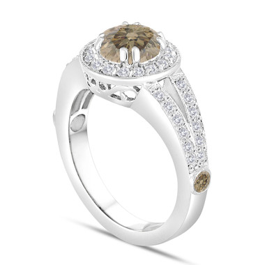 Fancy Champagne Brown Diamond Engagement Ring 1.56 Carat 14K White Gold Handmade Unique Halo Pave Certified