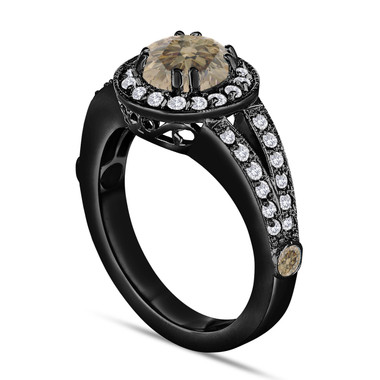 Fancy Champagne Brown Diamond Engagement Ring 1.56 Carat 14K Black Gold Vintage Style Handmade Unique Halo Pave Certified