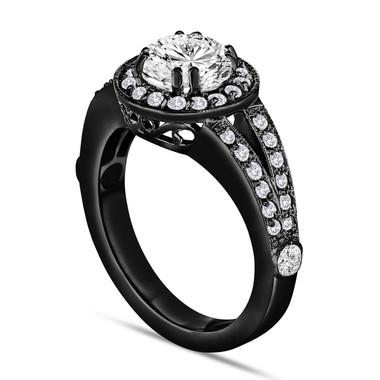 14K Black Gold Diamond Engagement Ring 1.56 Carat Vintage Style Handmade Unique Halo Pave Certified