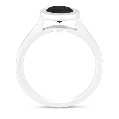 Platinum Black Diamond Solitaire Engagement Ring 1.00 Carat Handmade Bezel Set