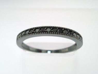 Black Diamond Anniversary Wedding Band 14K Black Gold Vintage Style Half Eternity Handmade Stackable 0.18 Carat